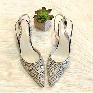Stuart Weitzman Diamond Print Slingback Heels 5.5